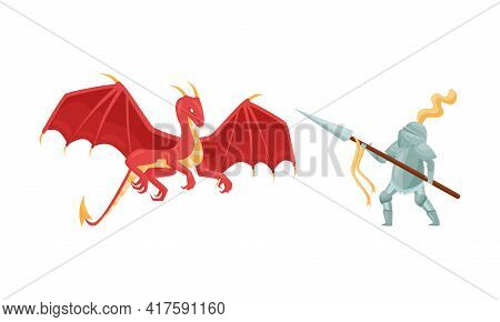 Brave Medieval Knight In Armored Suit Holding Shield And Weapon Fighting With Fire Breathing Dragon