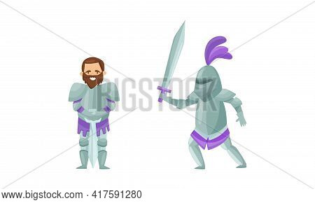 Knight From Middle Ages In Iron Armour Suit Holding Sharp Sword Vector Set