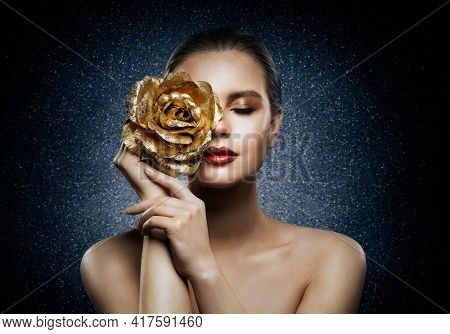 Woman Face Skin Care Flower Gold Mask. Beautiful Fashion Girl With Rose Jewelry On Face. Night Treat