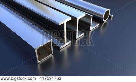 Various Rolled Metal On The Floor - Concept Industrial 3d Rendering