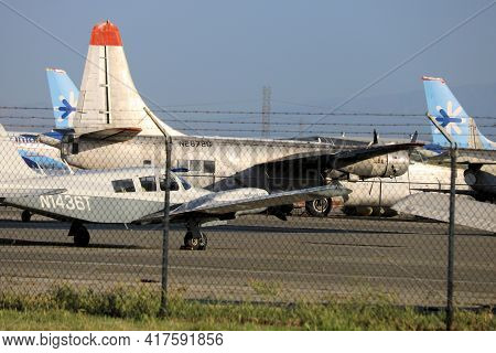 April 15, 2021 In Chino, Ca:  Stored Military And Airliner Aircraft Parked On The Tarmac Taken In Th