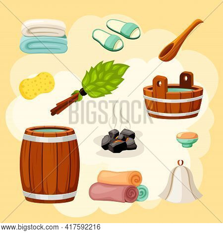 Bath And Sauna Accessories Set. Wooden Brown Wellness Ladle With Bucket And Massage Green Leafy Broo