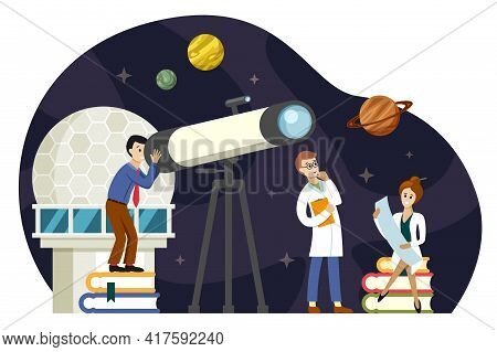 Astronomers Scientists Study Space Illustration. Observation Planets And Stellar Bodies New Discover