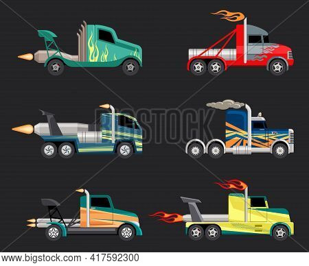 Racing Trucks Set. Powerful Futuristic Cars With Jet Engines Fashionable Coloring For Extreme Sports