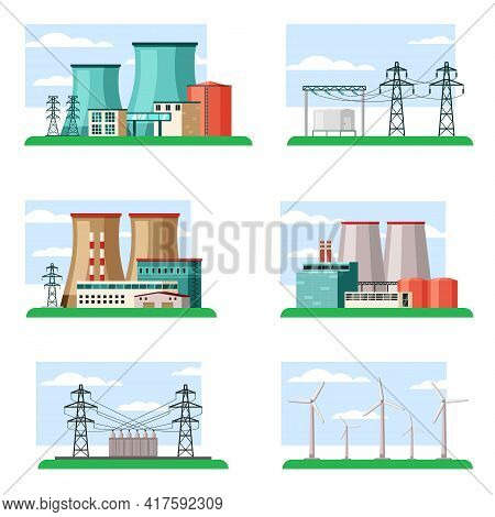 Industrial And Ecological Power Plants Set. Technological Structures Powerful Pipes Fueled Nuclear F