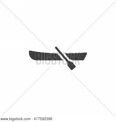 Row Boat Vector Icon. Filled Flat Sign For Mobile Concept And Web Design. Rowing Boat With Paddles G
