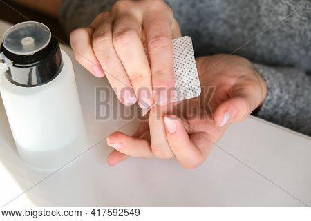 Work At Home With Nails. Nail Care, Self Care. Female Manicure. Do Manicure By Yourself While Stayin