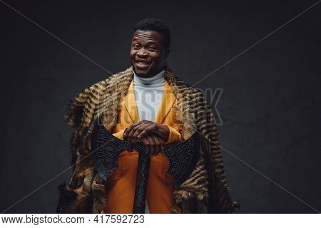 Bizarre African Man With Axe And Fur