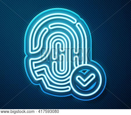 Glowing Neon Line Fingerprint With Check Mark Icon Isolated On Blue Background. Id App Icon. Identif