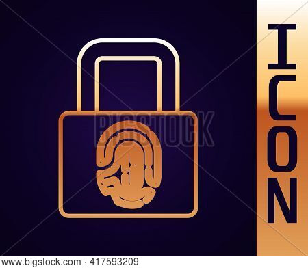 Gold Line Fingerprint With Lock Icon Isolated On Black Background. Id App Icon. Identification Sign.