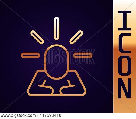 Gold Line Depression And Frustration Icon Isolated On Black Background. Man In Depressive State Of M