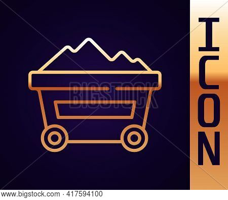Gold Line Coal Mine Trolley Icon Isolated On Black Background. Factory Coal Mine Trolley. Vector