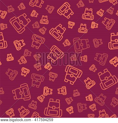 Brown Line Hiking Backpack Icon Isolated Seamless Pattern On Red Background. Camping And Mountain Ex