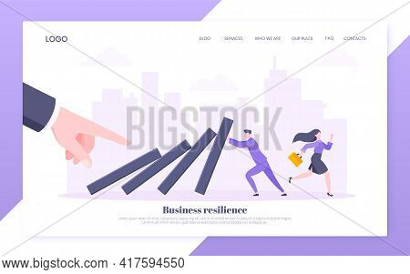 Business Resilience Or Domino Effect Metaphor Vector Illustration. Giant Hand Starts Chain Reaction