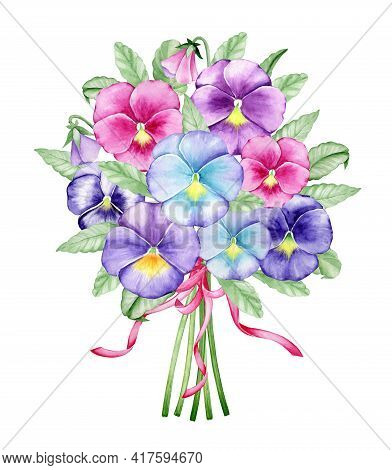 Violas, Different Colors, Floral Bouquet, With A Pink Ribbon. Watercolor Botanical Bouquet On An Iso