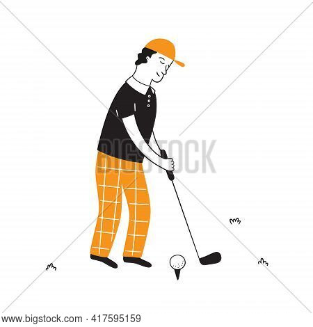 Hand Drawn Golf Player With Club. Golfers In Doodle Style. Isolated Vector Illustration On White Bac