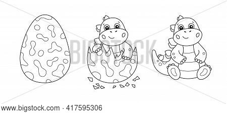 Dinosaur Egg And Cute Little Dinosaur For Kid Coloring Book. Baby Stegosaurus. Children Puzzle Game.