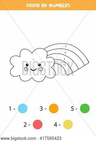 Color Cute Cartoon Rainbow Cloud By Numbers. Worksheet For Kids.