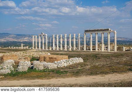 Colonnade Surrounding Former Agora In Northern Part Of Laodicea, Ancient City Near Denizli, Turkey.