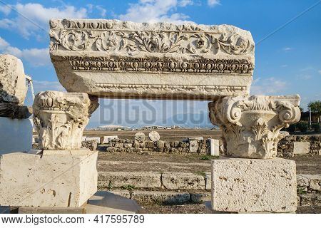 Exposition Of Colonnade Elements On Street Of Antique City Laodicea, Denizli, Turkey. There Are Abac