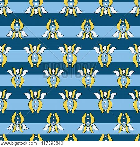Vector Bright Blue Breton Stripes Background Brittany Celtic, Breton Trational Folklore Symbols Seam