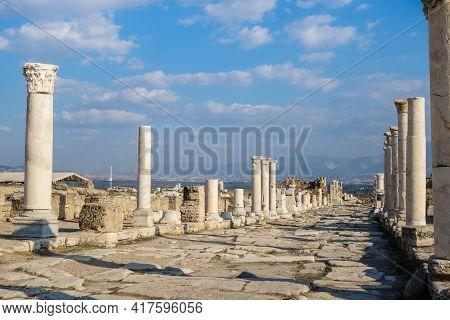 View In Perspective Onto Empty Colonnaded Street In Antique City Laodicea, Near Denizli, Turkey. Col