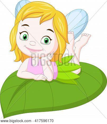 Vector Illustration Of Cartoon Funny Little Fairy On Green Leaf