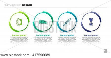 Set Brass Knuckles, Military Truck, Sword And Reward Medal. Business Infographic Template. Vector