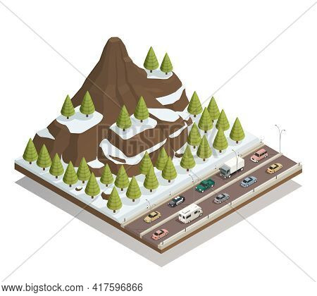Winter Snowy Landscape Isometric Composition With Rocky Mountains Fir-trees And Busy Motorway Road B