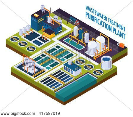 Purification Plant With Water Cleaning, Pumping Station, Filters, Separators, Isometric Composition