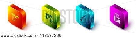 Set Isometric Pistol Or Gun, Buying Pistol, Tommy And Icon. Vector