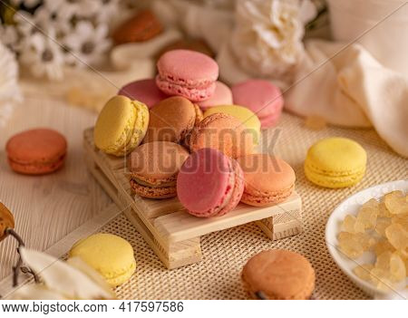 French Macarons, Light, Airy And Delicate Meringue Sandwich Cookies