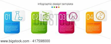 Set Line Chinese Tea Ceremony, Chinese Drum, Chinese Fortune Cookie And Yin Yang. Business Infograph