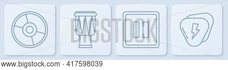 Set Line Cd Or Dvd Disk, Pause Button, Drum And Guitar Pick. White Square Button. Vector