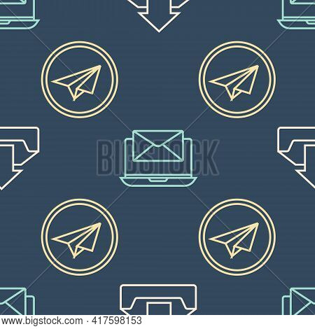 Set Line Upload Inbox, Paper Plane And Laptop With Envelope On Seamless Pattern. Vector