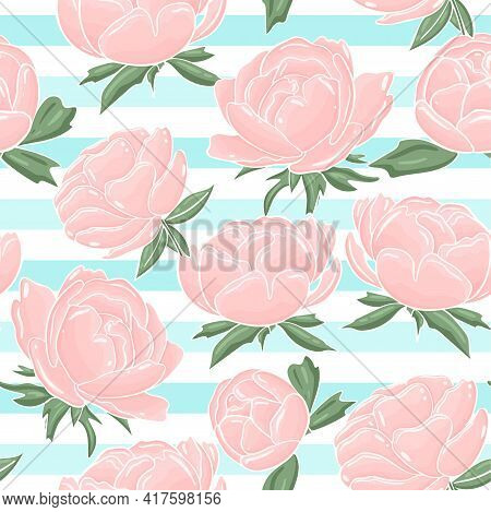 Seamless Background With Delicate Pink Peonies. Blooming Garden Flowers. Heavenly Striped Background