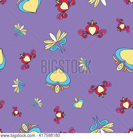 Vector Purple Background Brittany Celtic, Breton Trational Folklore Symbols Seamless Pattern. Seamle