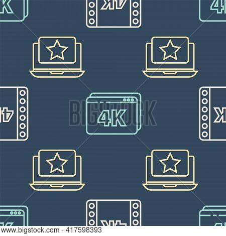 Set Line 4k Movie, Tape, Frame, Laptop With Star And Online Play Video With 4k On Seamless Pattern.