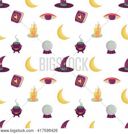 Witch Seamless Pattern With Esoteric Mystic Elements. Witchcraft Supply - Cauldron, Hat, Moon And Ca