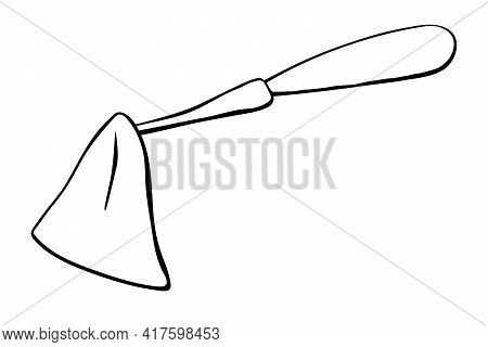 Hoe Like Small Rake. Hand Drawn Outline Vector Illustration In Doodle Style, Isolated. Gardening Ele