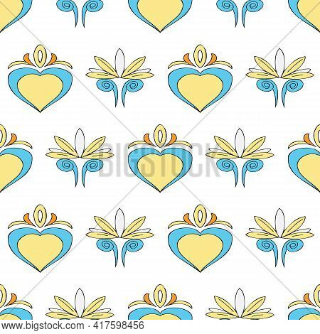 Vector White Background Brittany Celtic, Breton Trational Folklore Symbols Seamless Pattern. Seamles