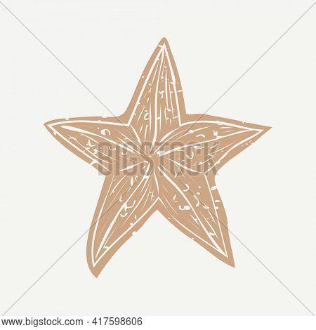Golden sea star linocut in cute illustration