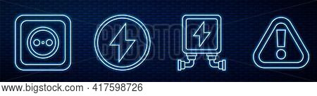 Set Line Electric Transformer, Electrical Outlet, Lightning Bolt And Exclamation Mark In Triangle. G
