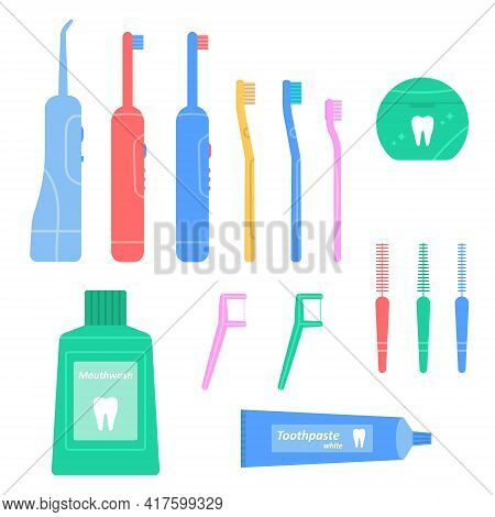 Dental Cleaning Tools Set. Hygiene And Oral Care. Flosser, Irrigator, Mouthwash, Toothbrush And Dent