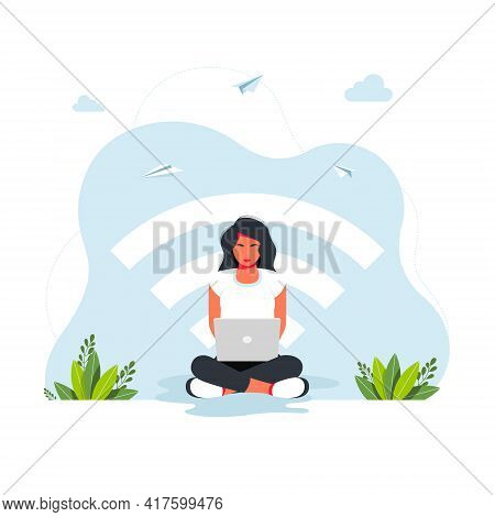 Free Wifi Zone. Public Free Wifi Hotspot Zone Wireless Connection, Business Concept. Woman Sitting I