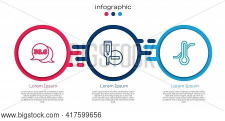 Set Line Medical Thermometer, Digital And Meteorology. Business Infographic Template. Vector