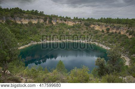 Views Of The El Tejo Lagoon, A Karstic Lake Located In The Natural Monument Of Cañada Del Hoyo Lagoo