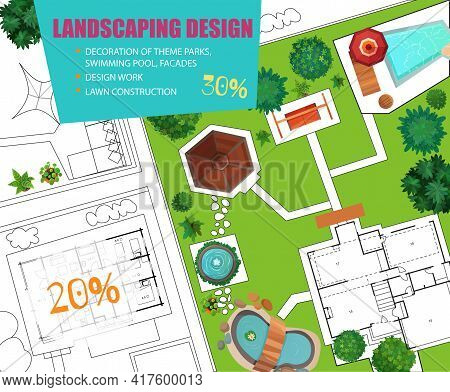 Project Of Landscape Design Top View Poster With Blueprint, Scheme Of House, Pool, Lawn Decorations