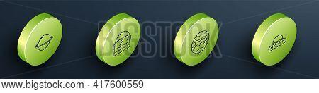 Set Isometric Line Planet Saturn, Astronaut Helmet, And Ufo Flying Spaceship Icon. Vector