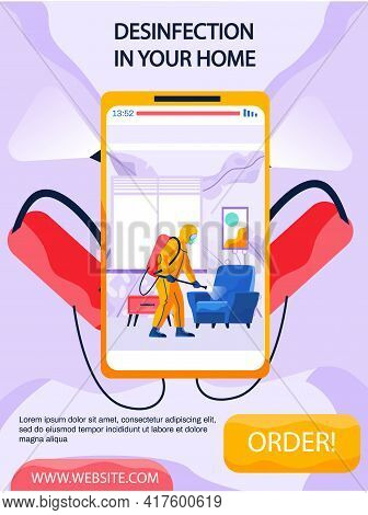 Desinfection In Your Home Concept Poster On Phone Screen. Man Disinfects Living Room With Spray Gun